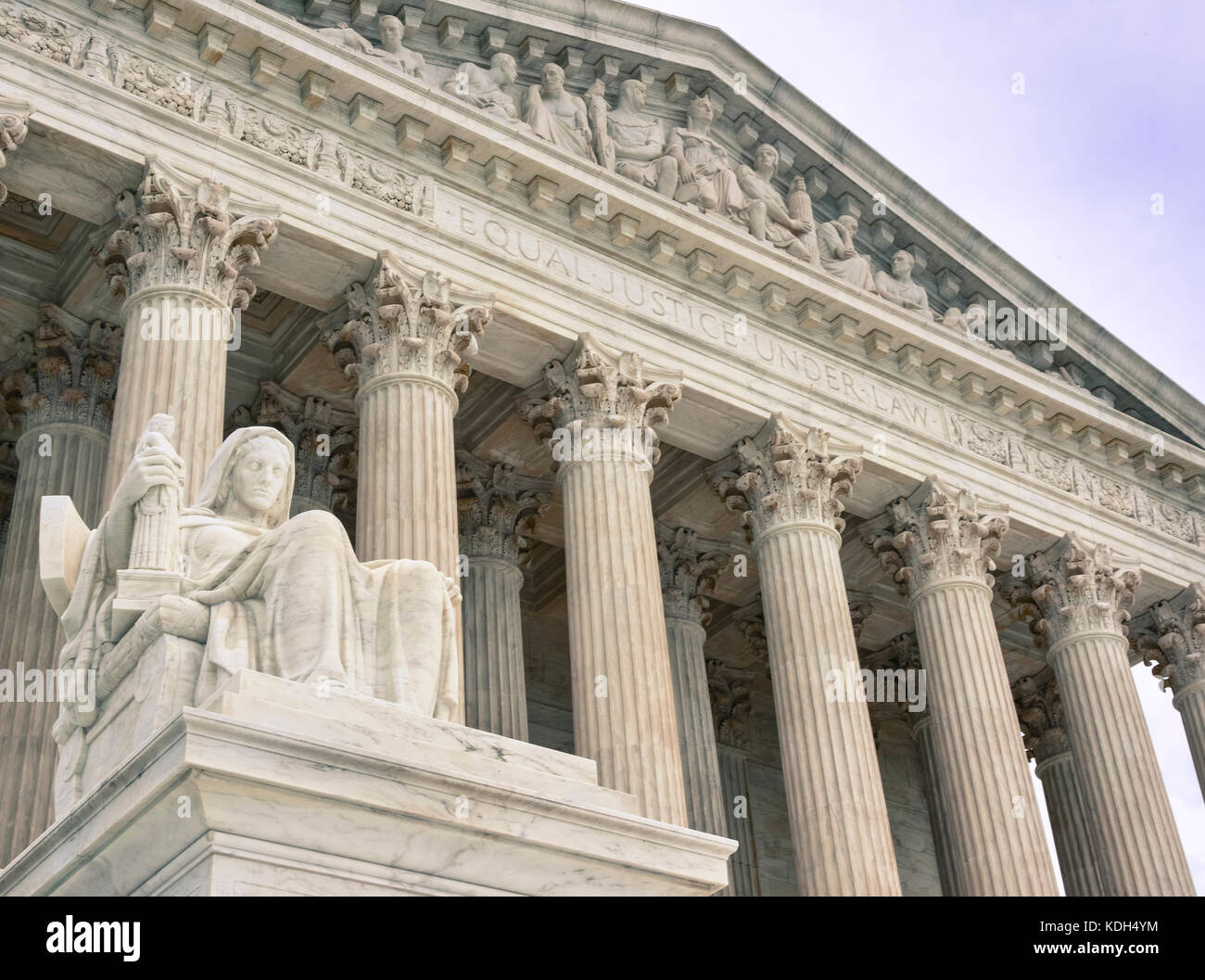 The Statue of Contemplation sits before the entrance to the US Supreme Court in Washington, DC, USA - Stock Image