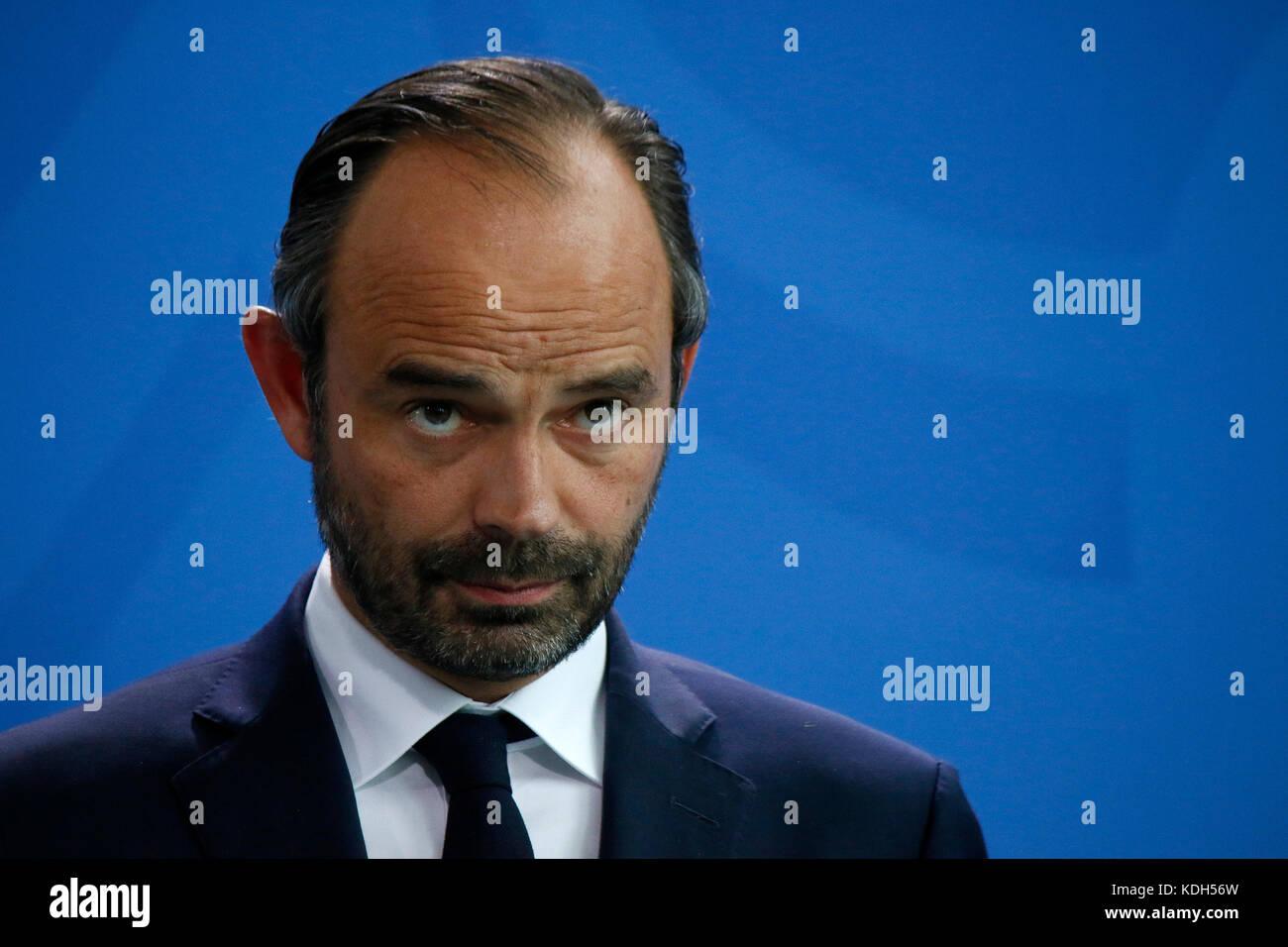 Edouard Philippe - Treffen der dt. Bundeskanzlerin mit dem franzoesischen Premierminister, Bundeskanzleramt, 15. - Stock Image