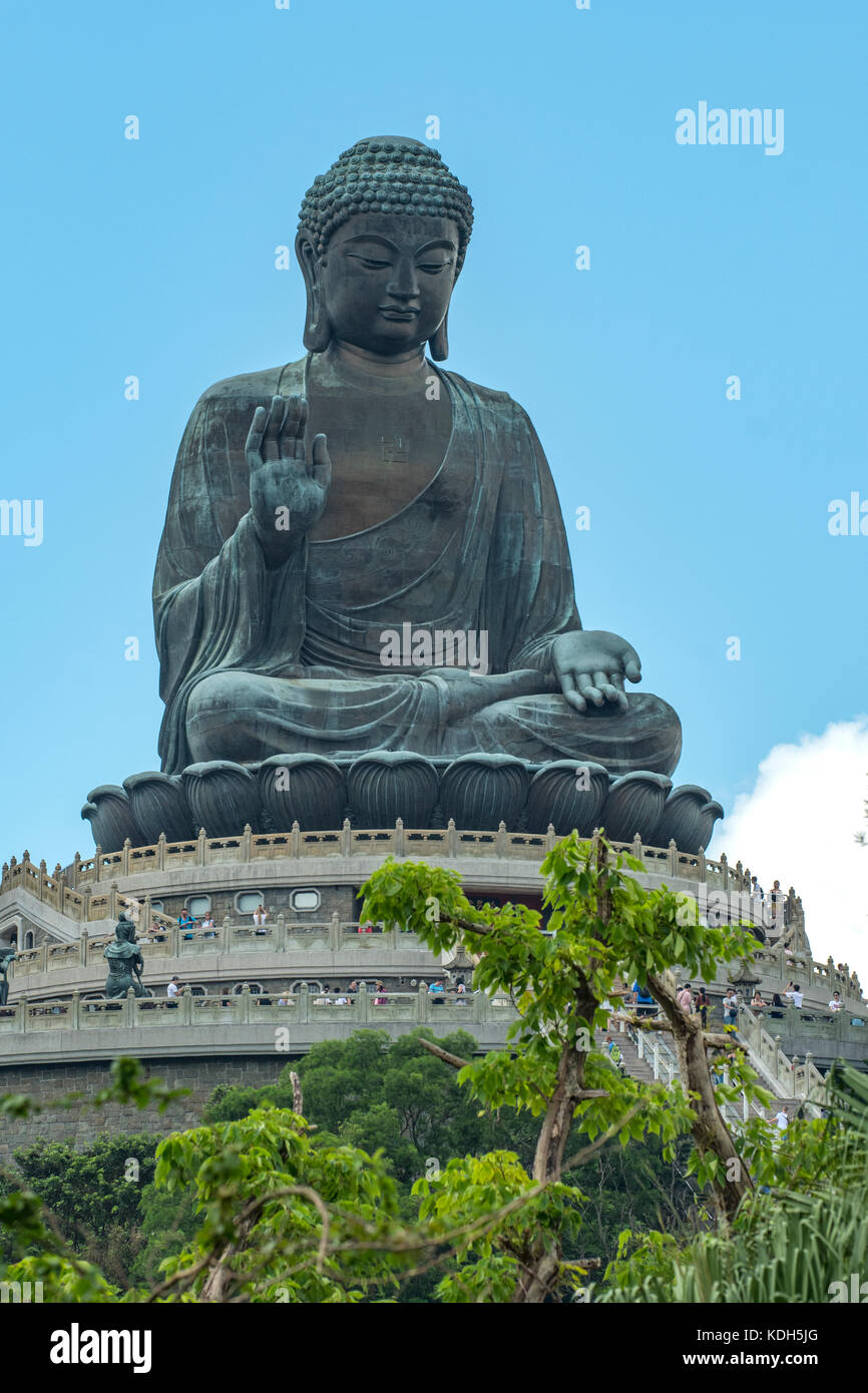 Giant Bronze Buddha, Ngong Ping, Lantau Island, Hong Kong, China - Stock Image
