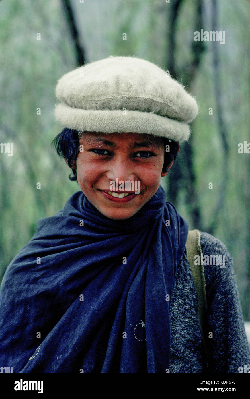 Upper Indus Valley Pakistan, 1990; Portrait of  young village boy in Shikar valley. - Stock Image