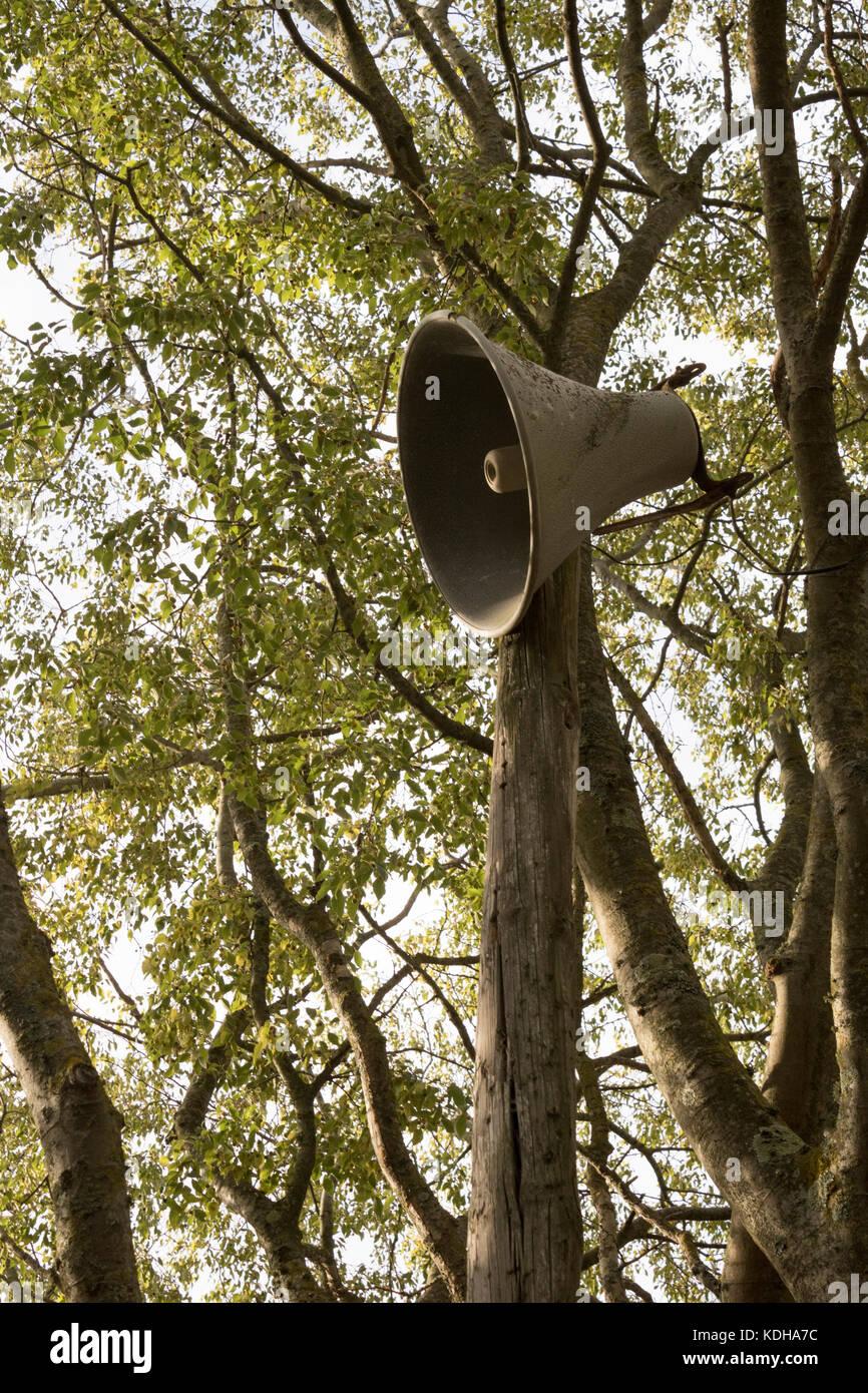 Loud speaker on camp site, public address, hailer - Stock Image