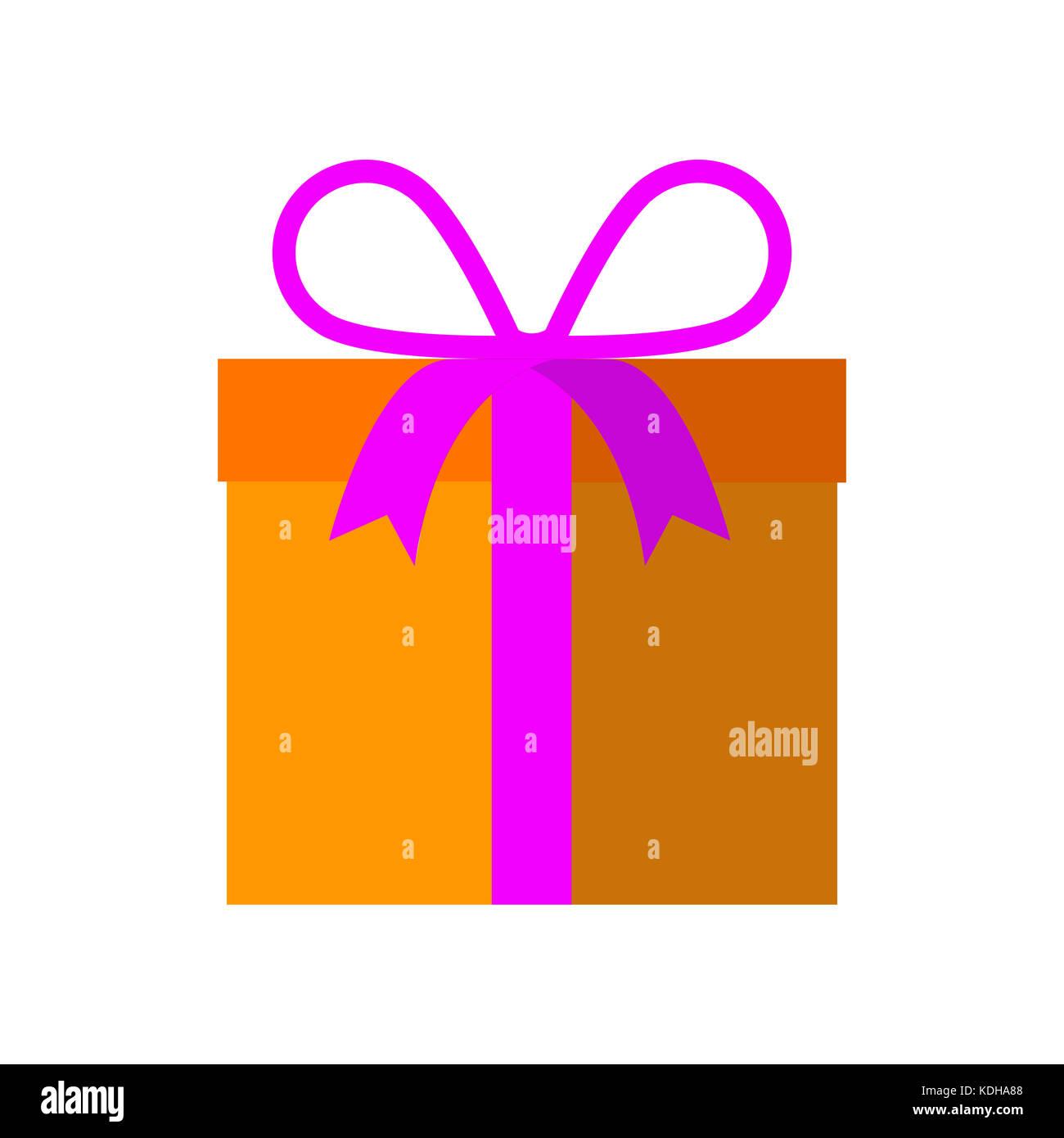 Gift Box Ribbon Wrapped - Stock Image
