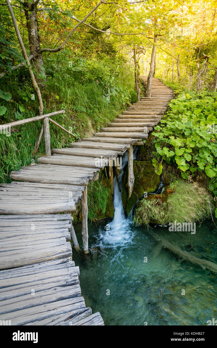 Empty boardwalk trail in Plitvice Lakes National Park, Croatia - Stock Image