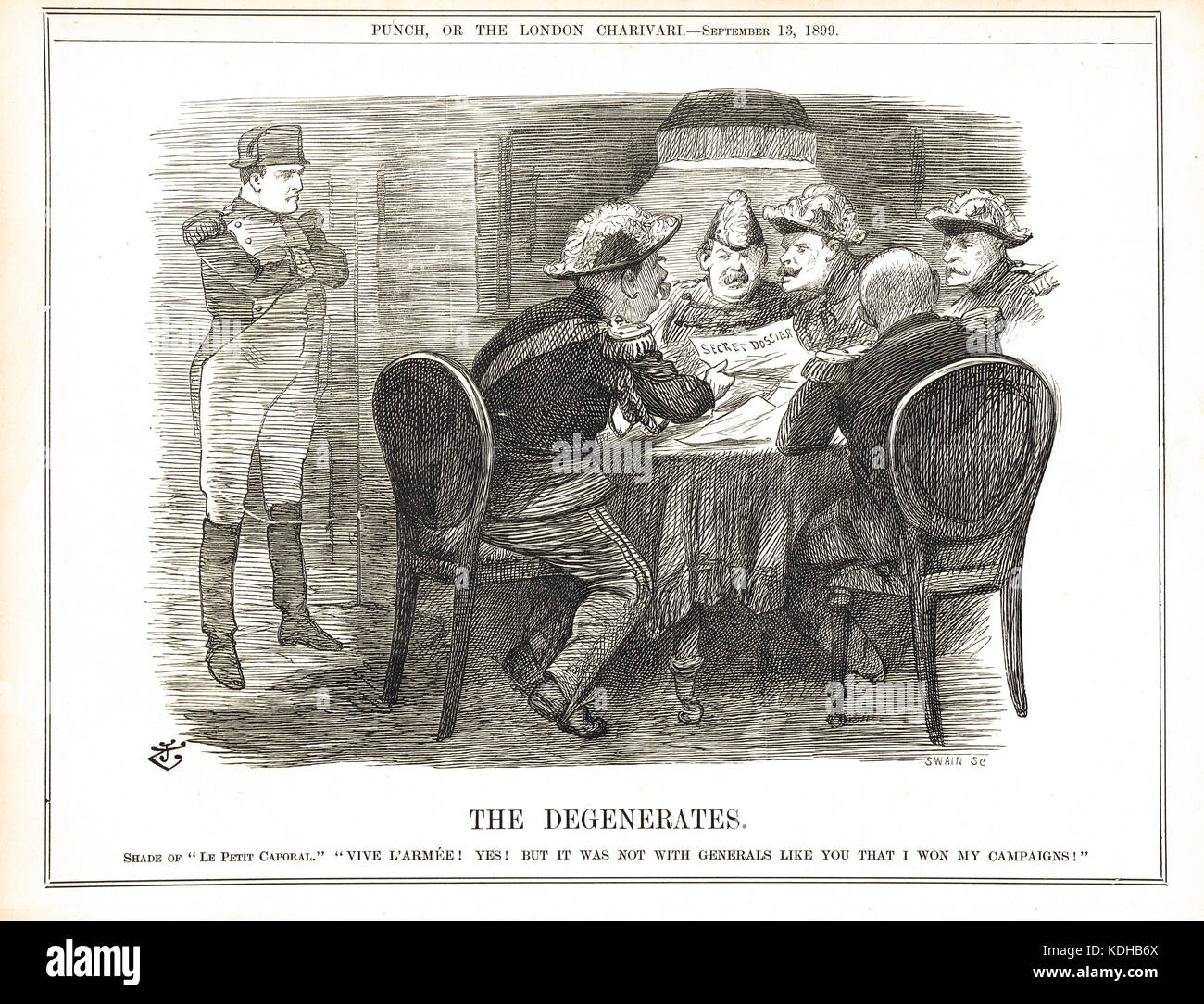 The Dreyfuss Secret Dossier revealed, 1899.  The Ghost of Napoleon looking at the French generals with contempt. - Stock Image
