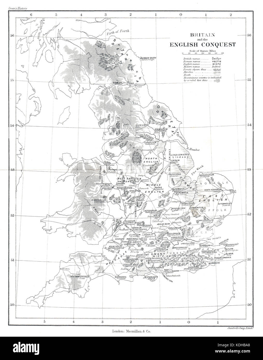 Map of Britain & the English Conquest.  Showing the changing map of the country after the departure of the Romans - Stock Image