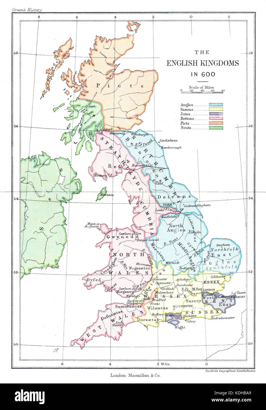 Map of the English kingdoms in 600 AD - Stock Image