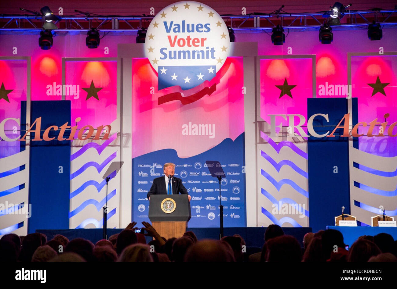 U.S. President Donald Trump addresses the Values Voter Summit annual gathering of Christian leaders October 13, - Stock Image