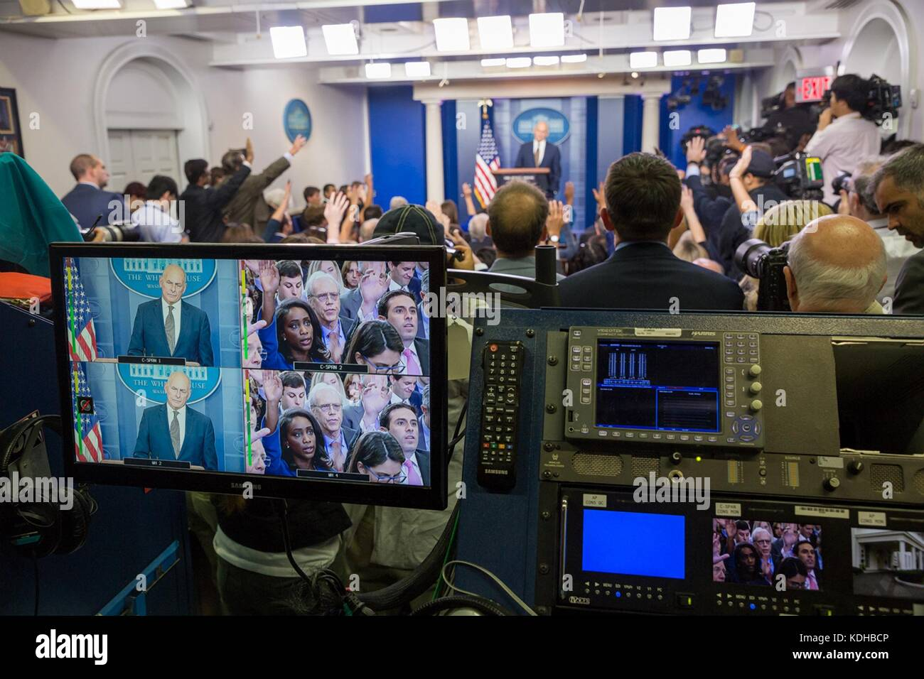 White House Chief of Staff John Kelly speaks to reporters during the daily press briefing in the Brady Press Briefing - Stock Image