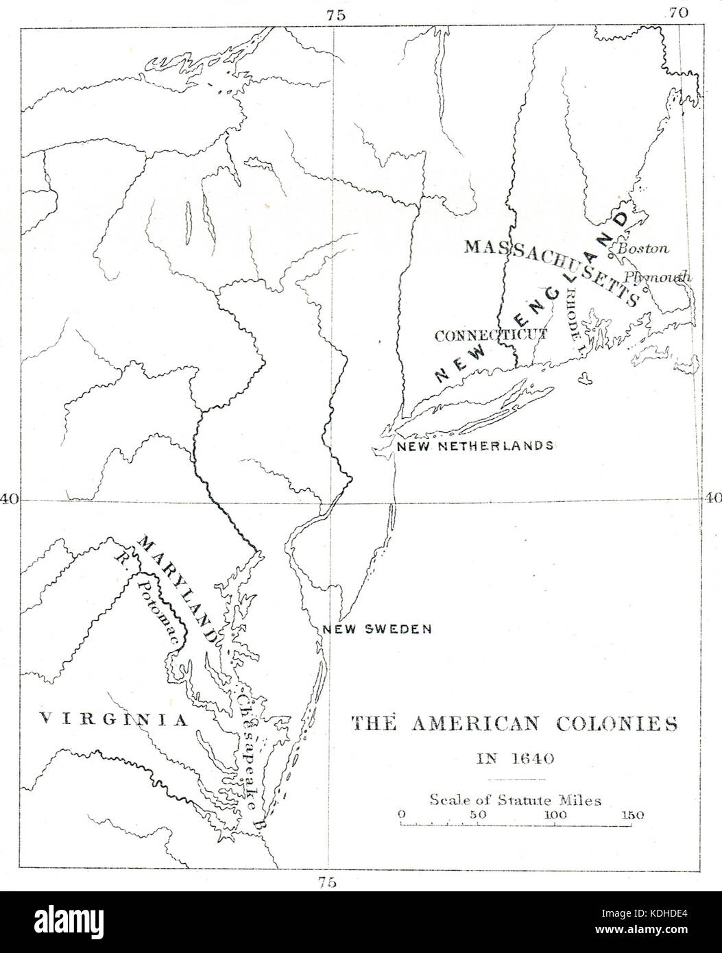 Map of the American colonies in 1640, European Colonies (New England, New Sweden & New Netherlands) of North - Stock Image