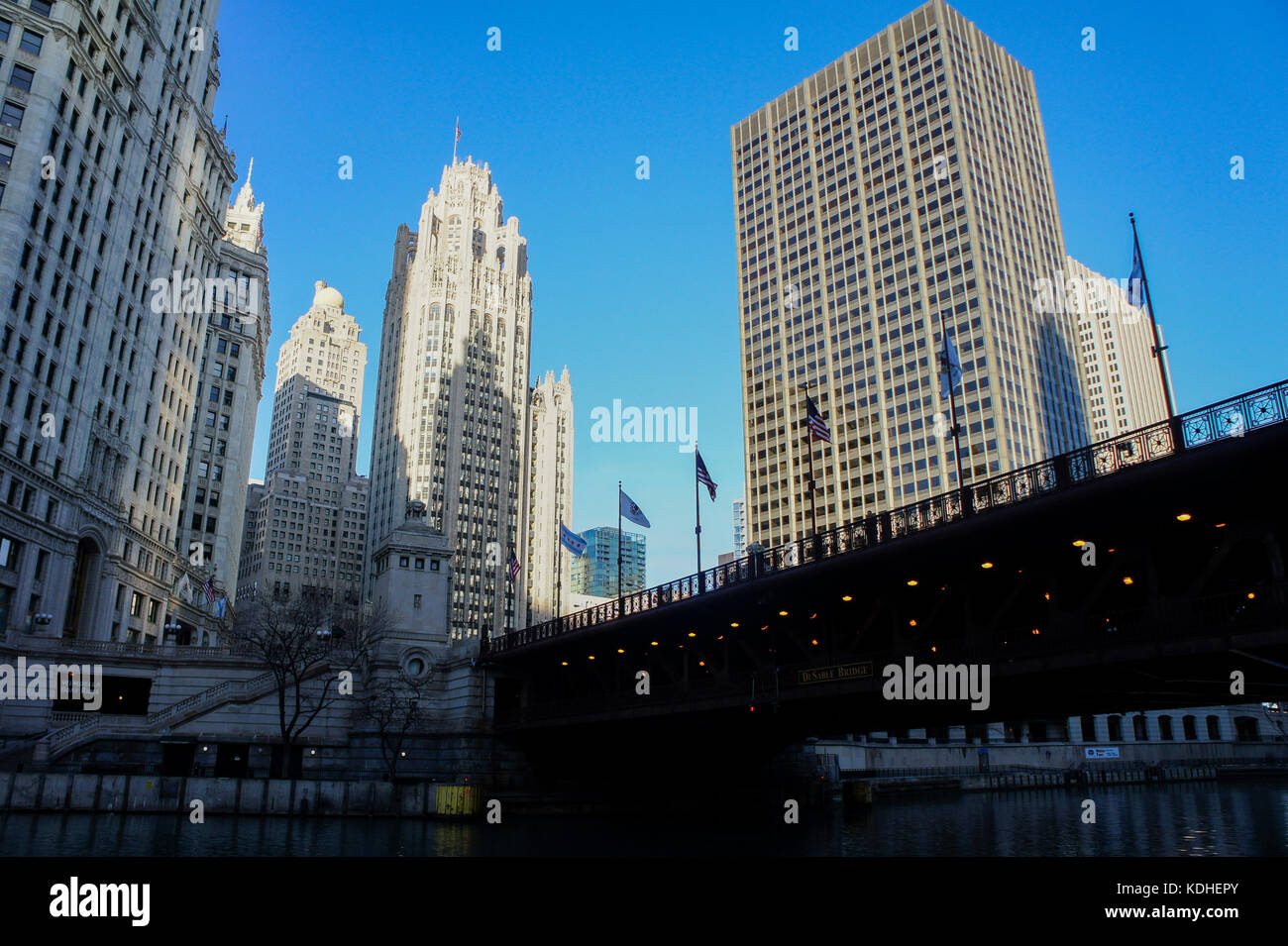 The historical Tribune Tower at Chicago, Illinois, United States - Stock Image
