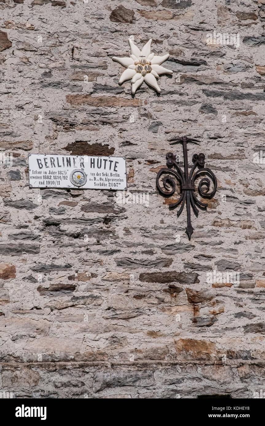 The  Berliner   Hut mountain refuge in the Zillertal Alps Stock Photo