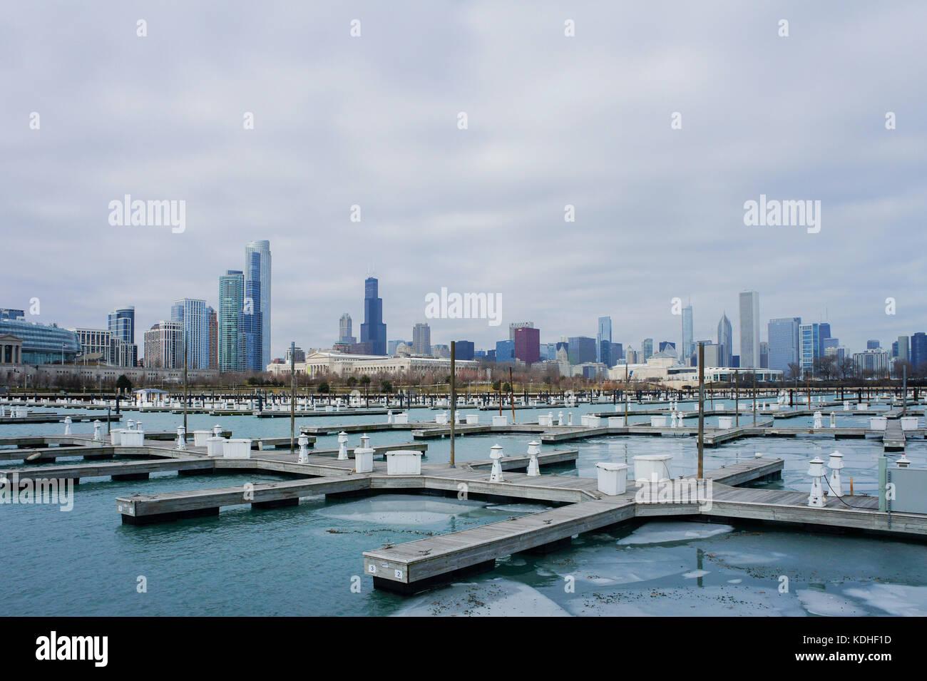 The beautiful DuSable Harbor at Millennium Park, Chicago, Illinois, United States - Stock Image