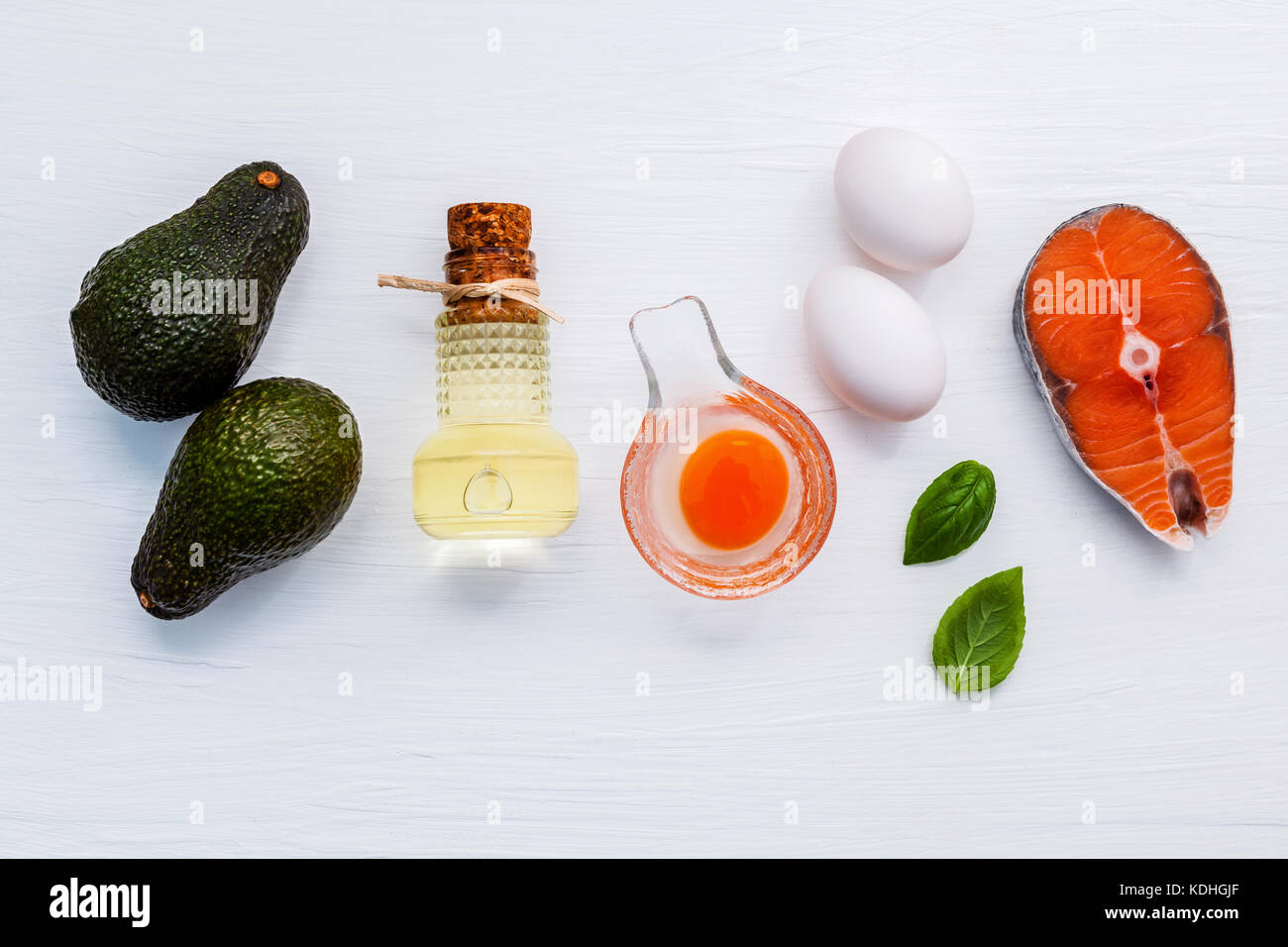 Selection food sources of omega 3 . Super food high omega 3 and unsaturated fats for healthy food. Avocadoes ,extra - Stock Image