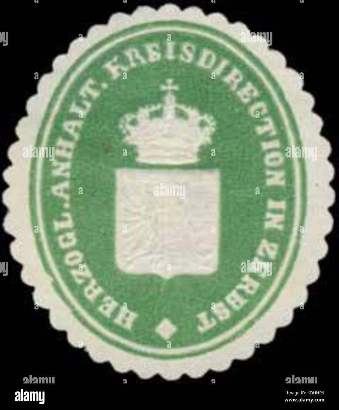 Siegelmarke H. Anhalt. Kreisdirection in Zerbst W0354720 Stock Photo