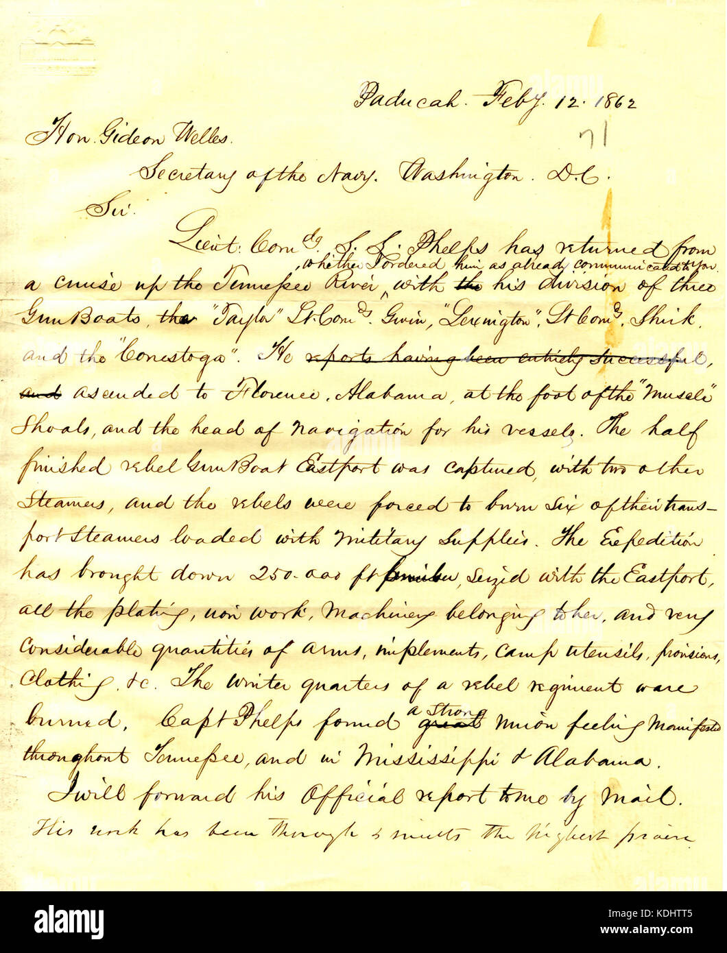 Letter to Gideon Welles, February 12, 1862 - Stock Image