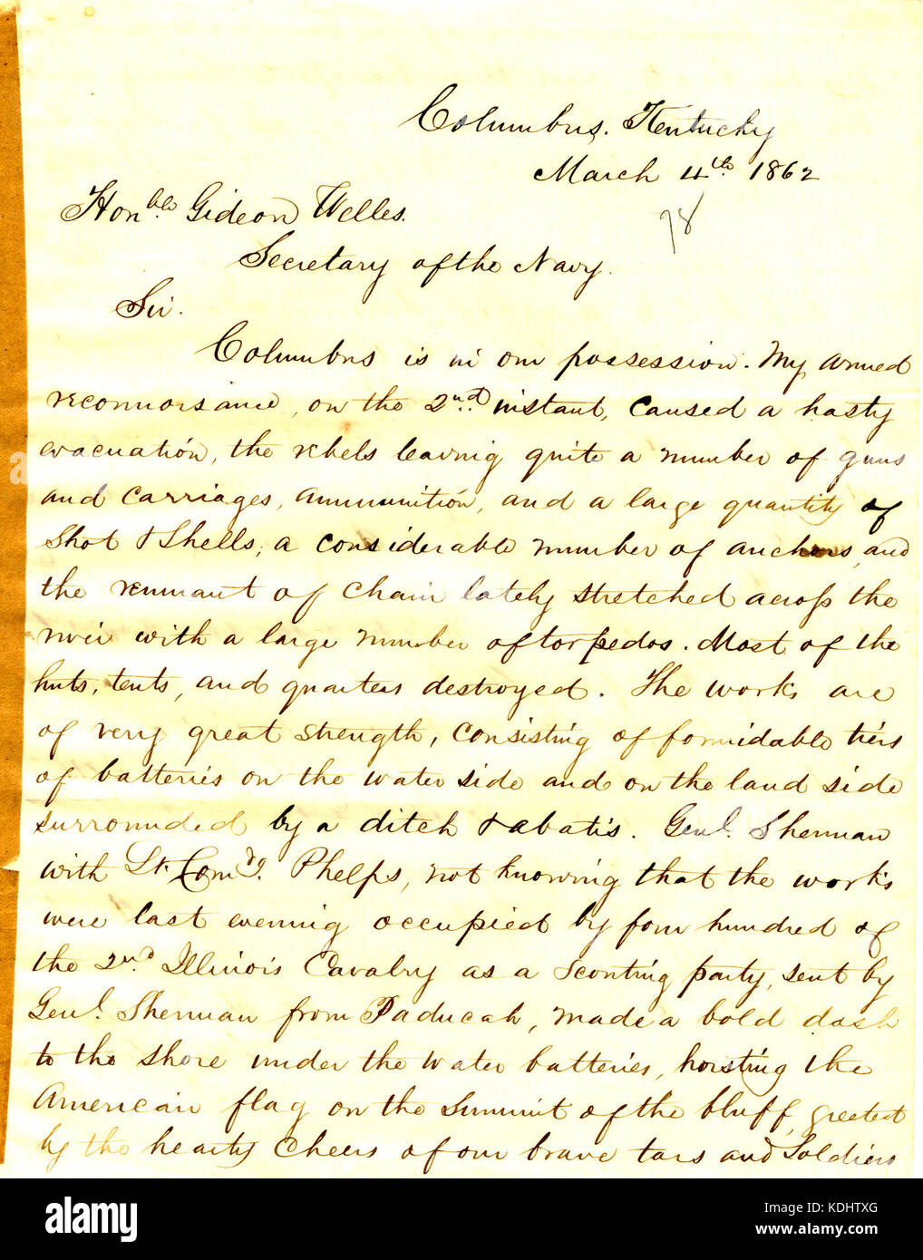 Letter from A. H. Foote, Columbus, Kentucky, to Gideon Welles, March 4, 1862 - Stock Image