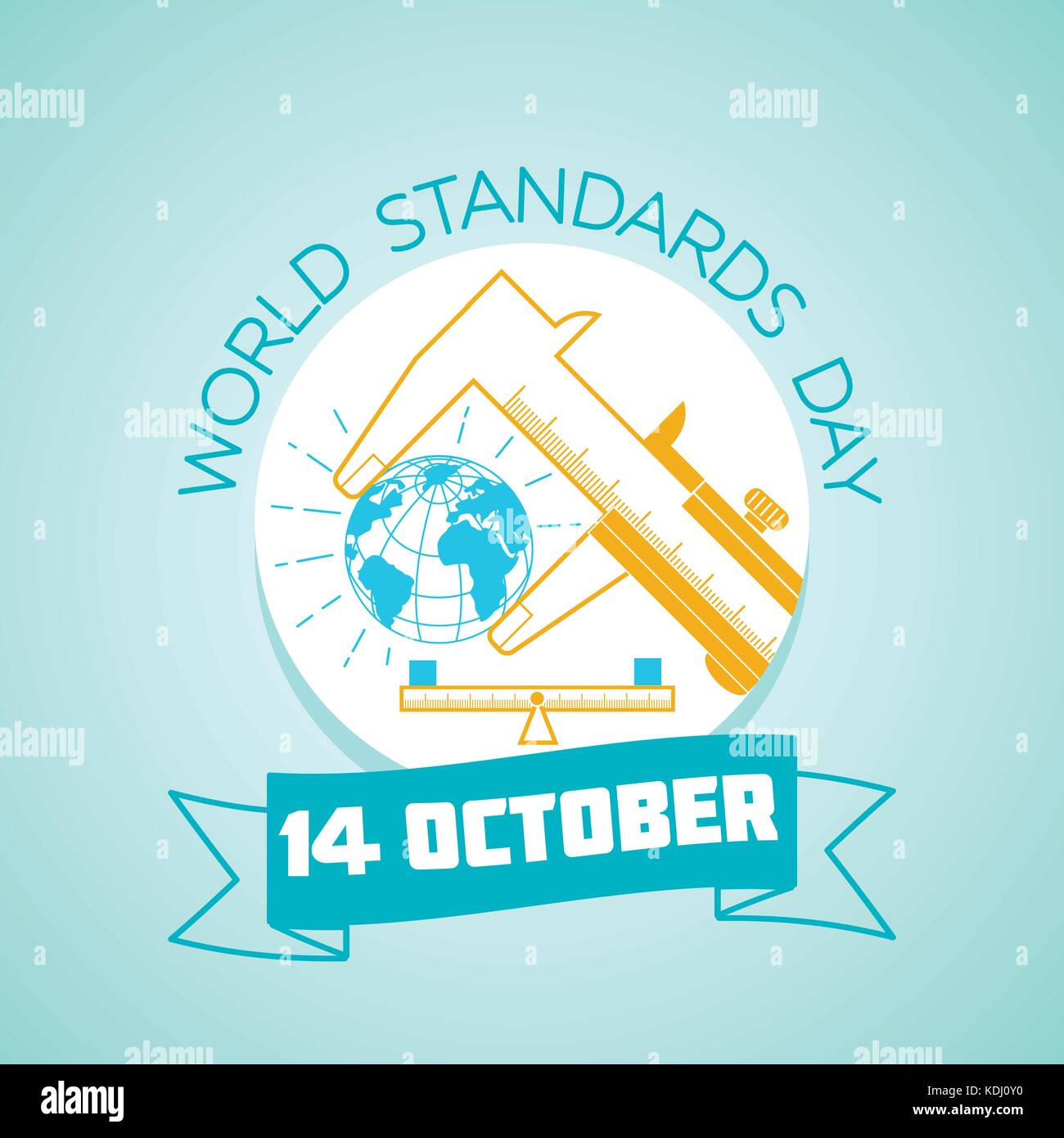 Calendar for each day on october 14. Greeting card. Holiday - World Standards Day. Icon in the linear style - Stock Image
