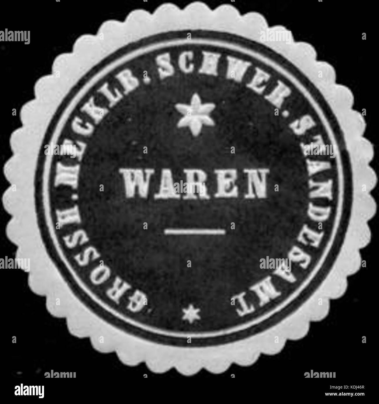 Siegelmarke Grossherzoglich Mecklenburgisch Schweriner Standesamt Waren W0211636 - Stock Image