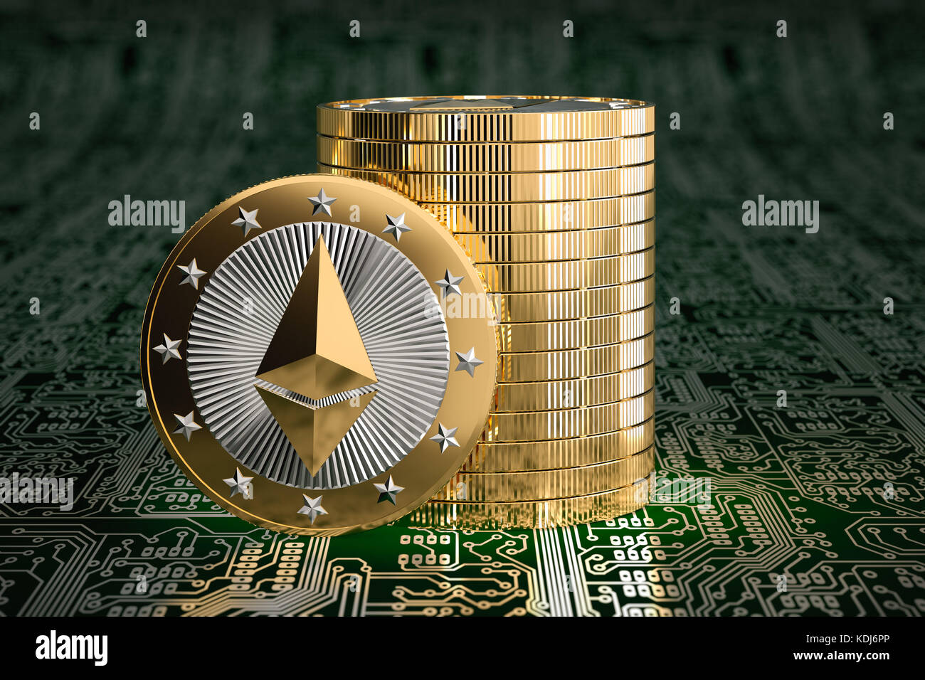 Ethereum Coin on circuit board layout - 3D Rendering Stock Photo