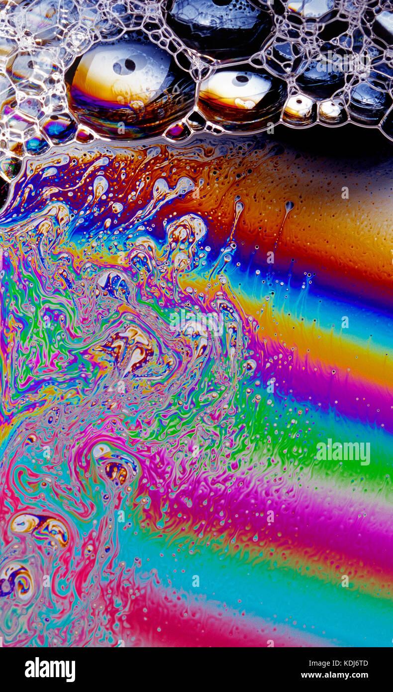 Still life. Close up of soap bubbles. - Stock Image