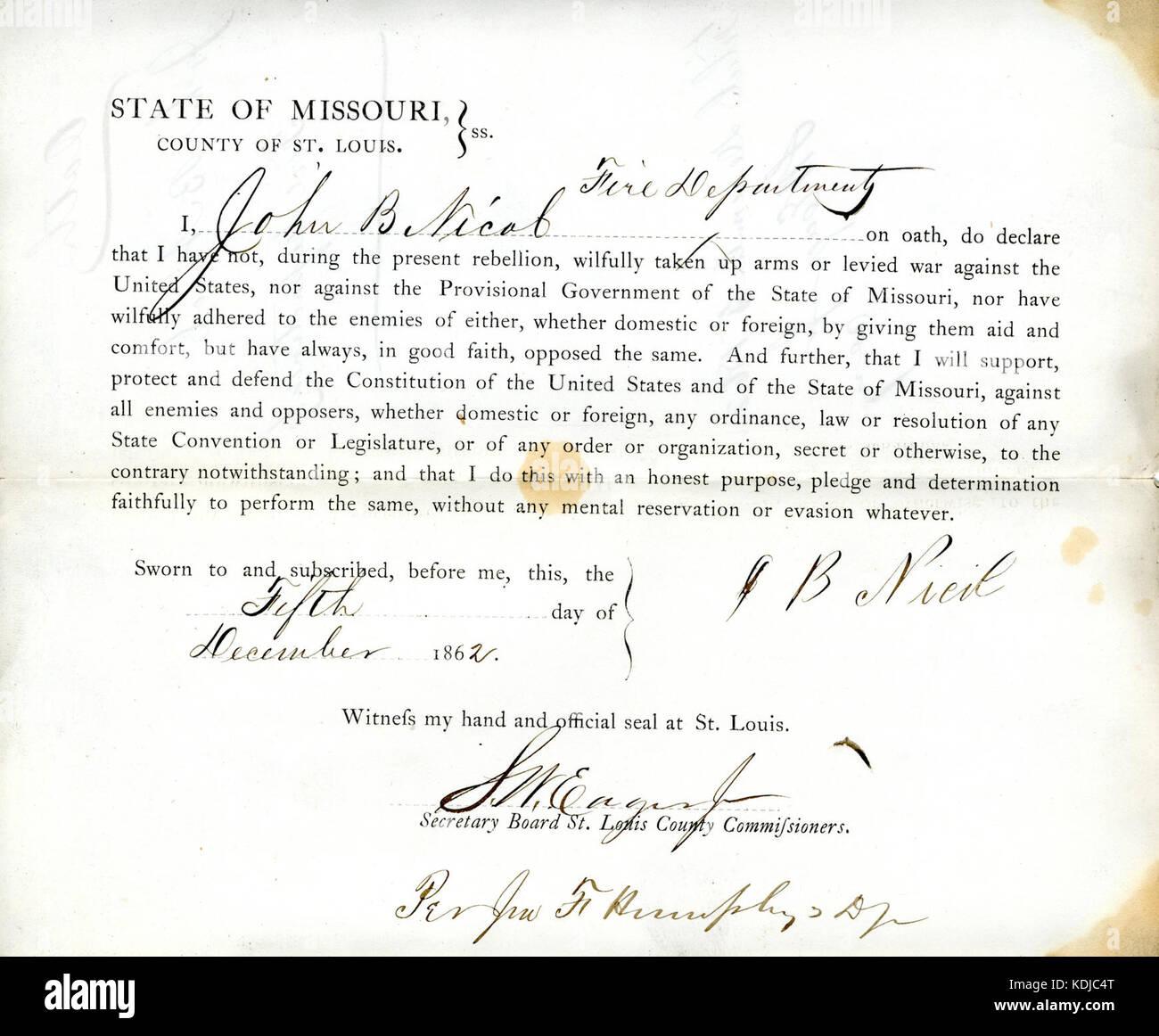 Loyalty oath of John B. Nicol of Missouri, County of St.Louis - Stock Image