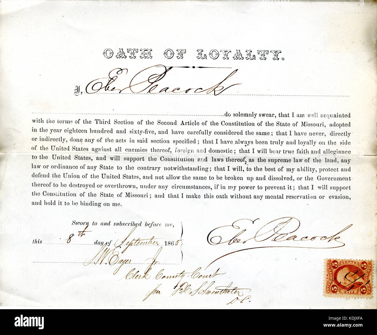 Loyalty oath of Eber Peacock of Missouri, County of St. Louis - Stock Image