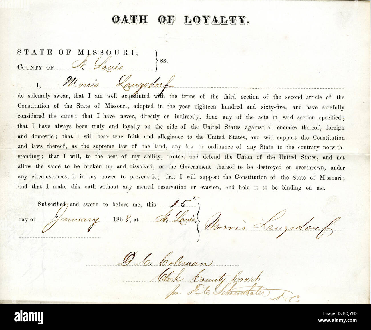 Loyalty oath of Morris Langsdorf of Missouri, County of St. Louis - Stock Image