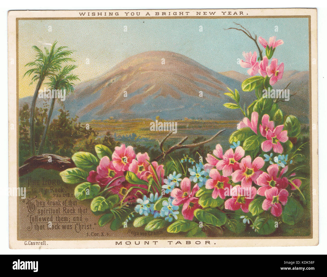 Mount Tabor, by Helga von Cramm. New year chromolithographic card. C. Caswell. (4 x 5.125 inches) - Stock Image