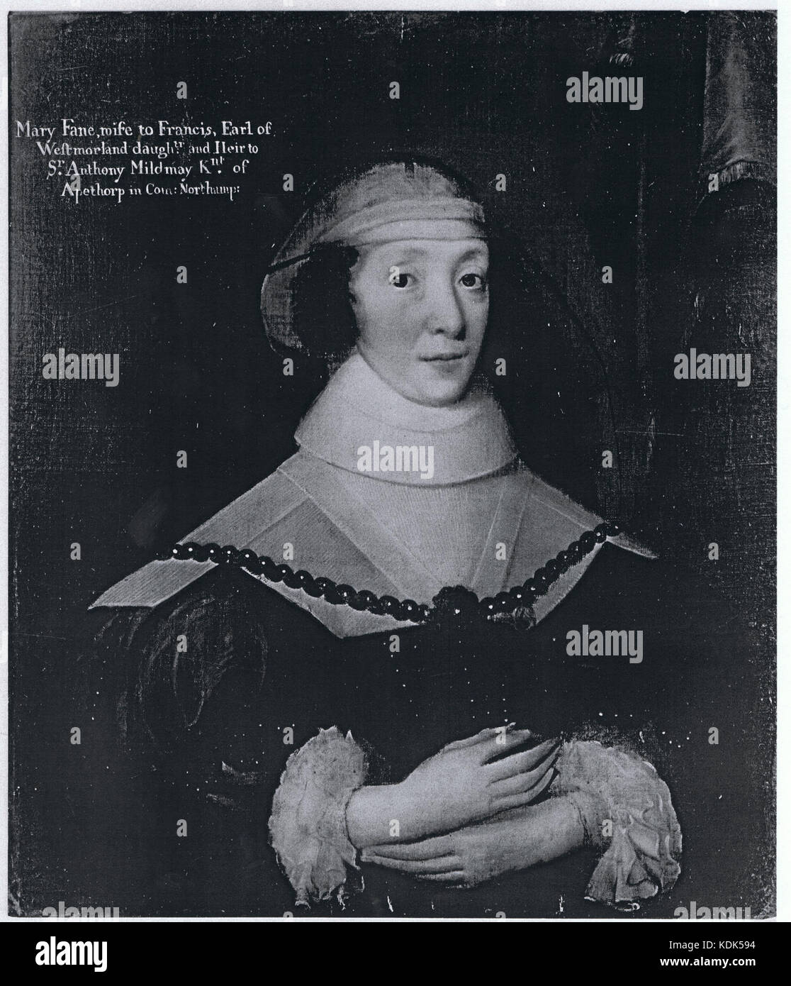 Mary Fane, wife to Francis, Earl of Westmorland, daughter and Heir to Sir Anthony Mildmay, Kt of Apethorp in County Northampton Stock Photo