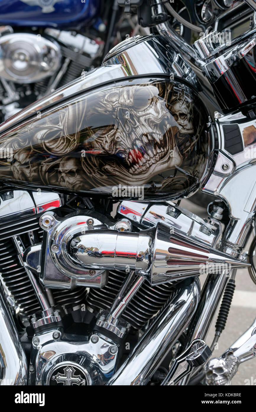 Port Dover, Ontario, Canada, 13th October 2017. Thousands of motorcyclists from all over Canada and the United States - Stock Image