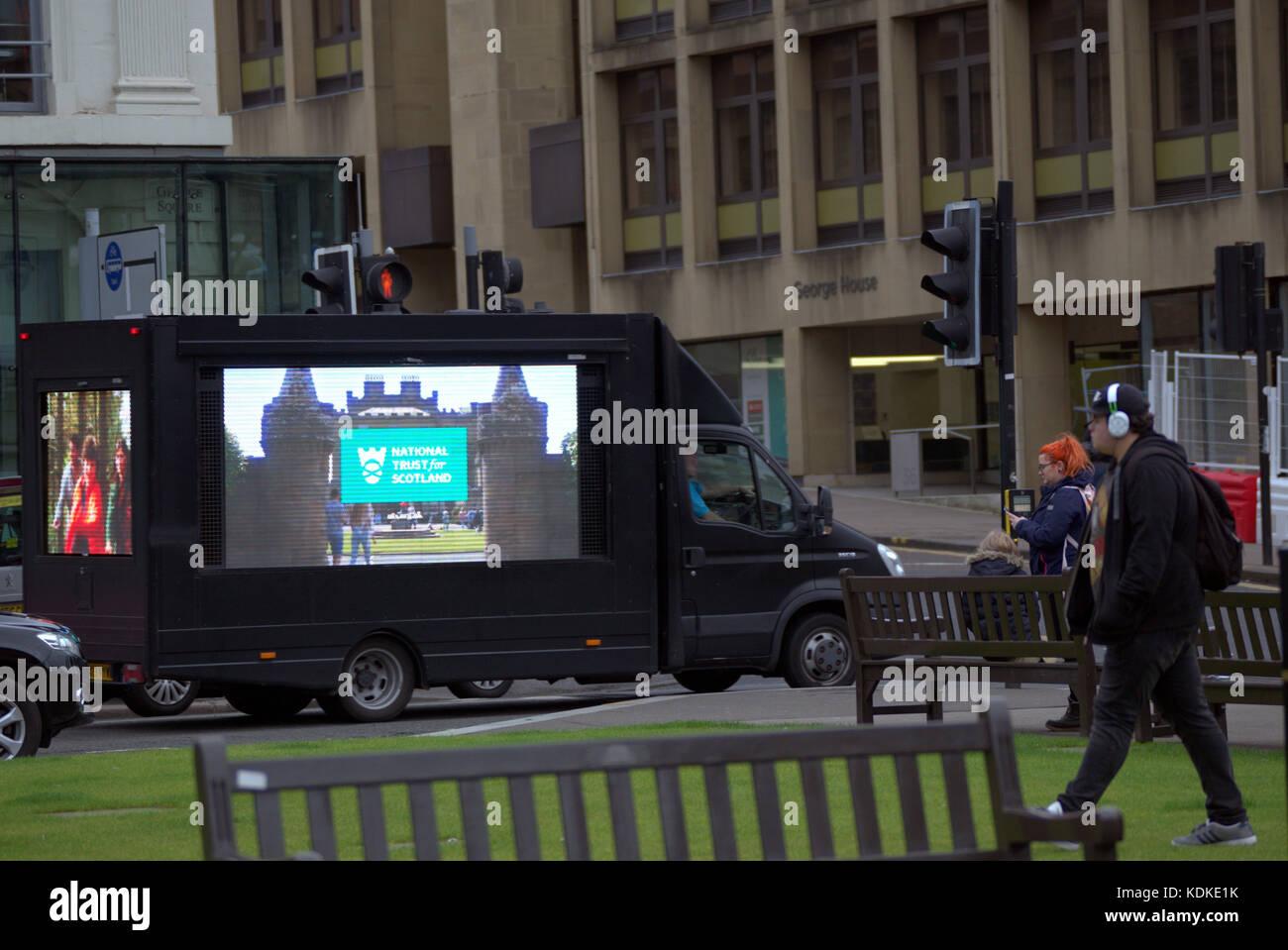 Glasgow, Scotland, UK.14th October. Glaswegians were surprised today as a multisided Promodigital Van video advert - Stock Image