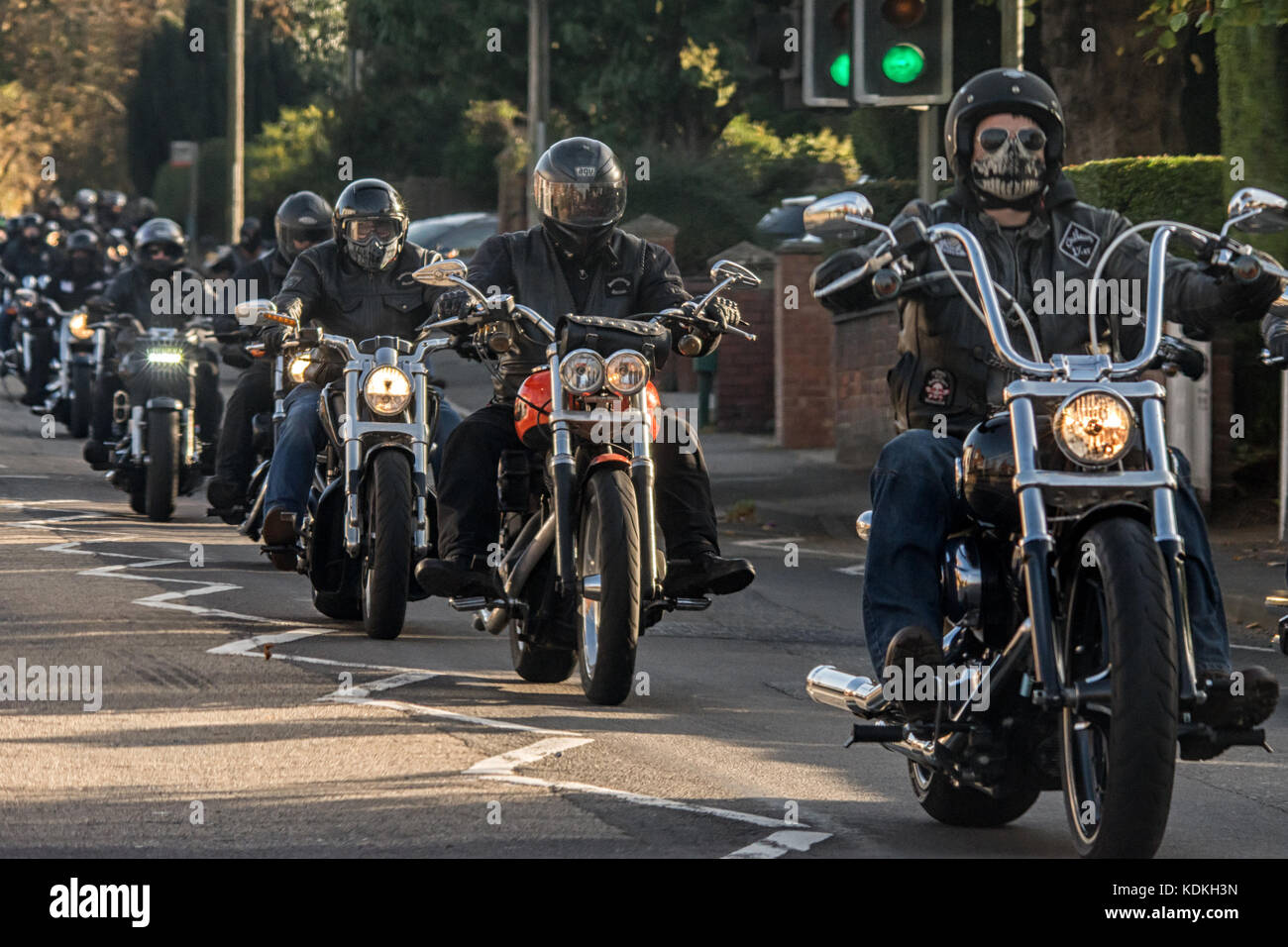 Melton Mowbray, UK. 14 October 2017. Around 100 Motorcycle bikers ride along the A606 into Melton Mowbrey. Credit: - Stock Image