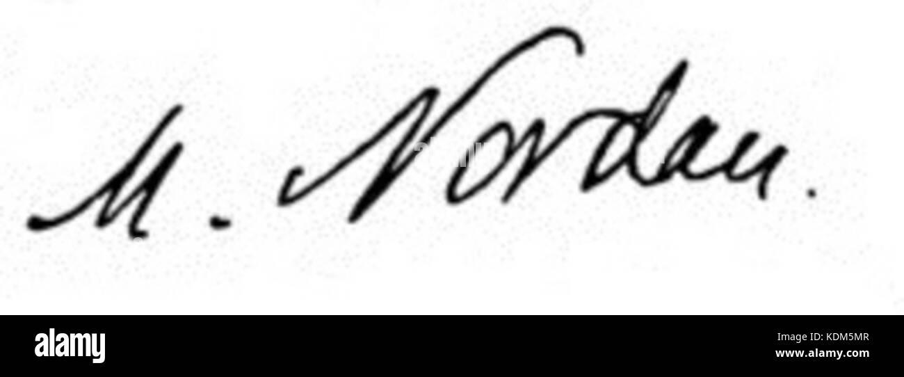 Signature of Max Nordau - Stock Image