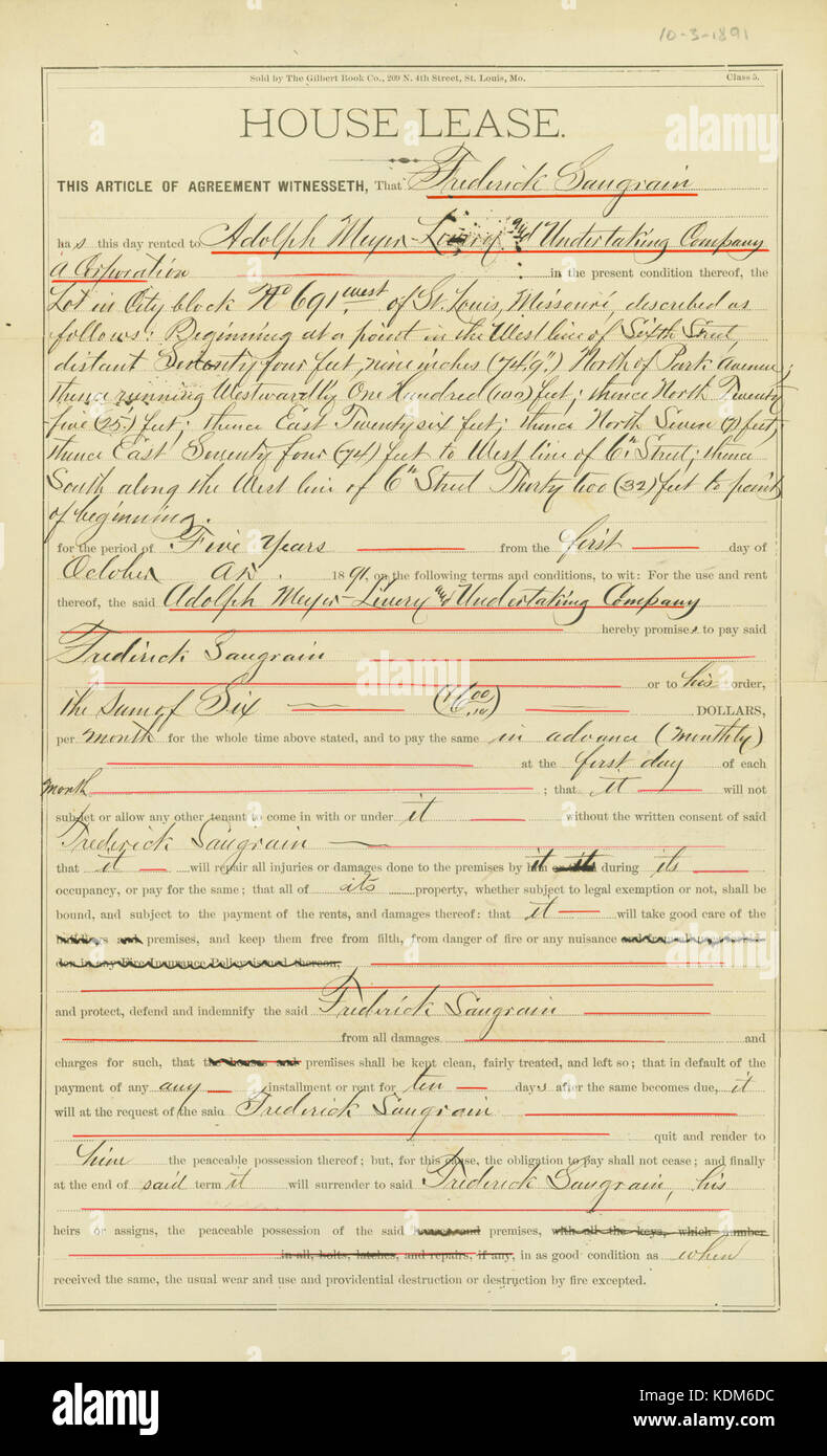 House Lease Agreement Between Frederick Saugrain And Adolph Meyer
