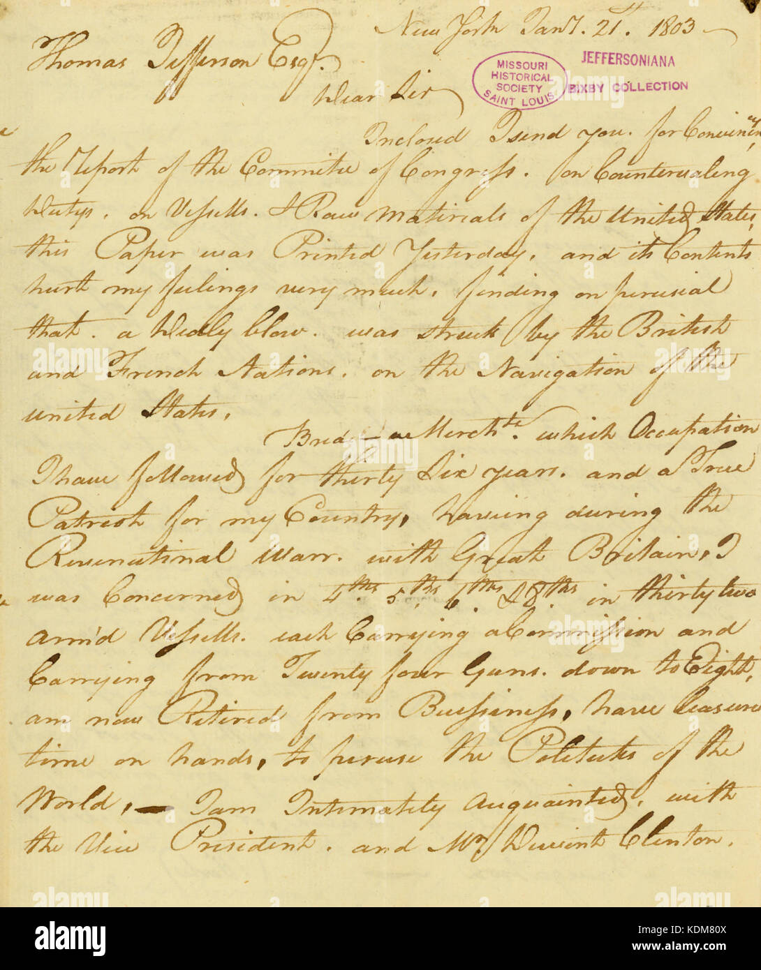 Letter from James A  Stewart, New York, to Thomas Jefferson