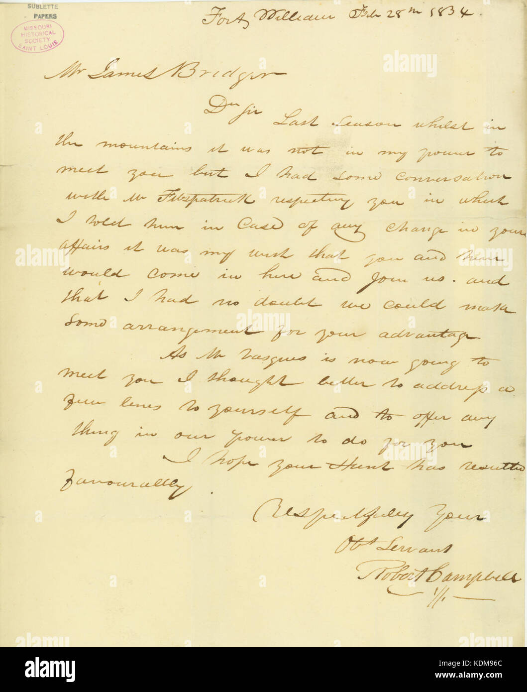 Letter from Robert Campbell, Fort William, to James Bridger, Rocky Mountains, February 28, 1834 - Stock Image