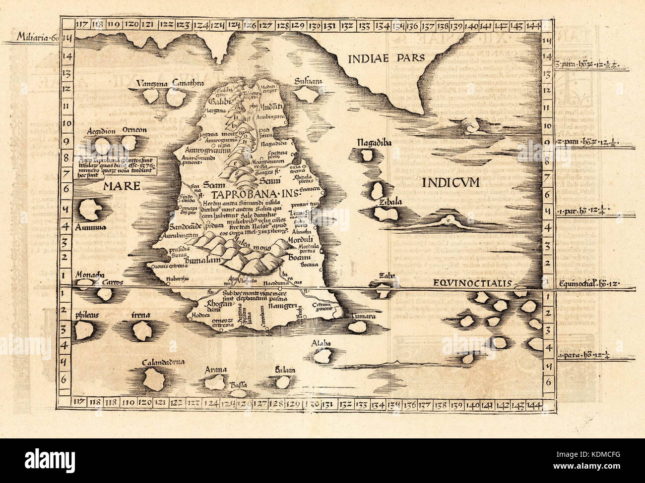 1st Century World Map.Ptolemy S World Map Of Ceylon First Century Ce In A 1535 Stock
