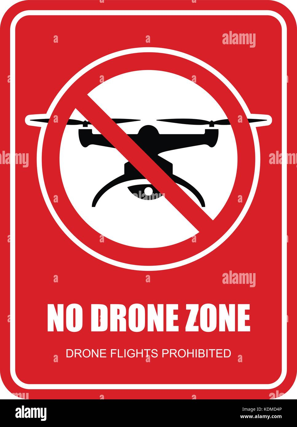 No drone zone restrictive sign - quadcopter flights prohibited - Stock Vector