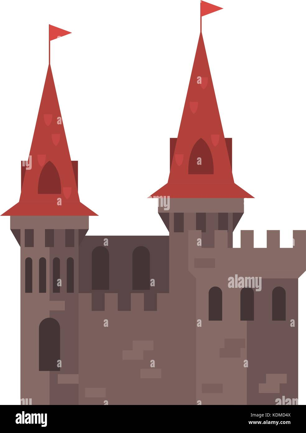 Medieval castle with towers - stronghold - Stock Vector