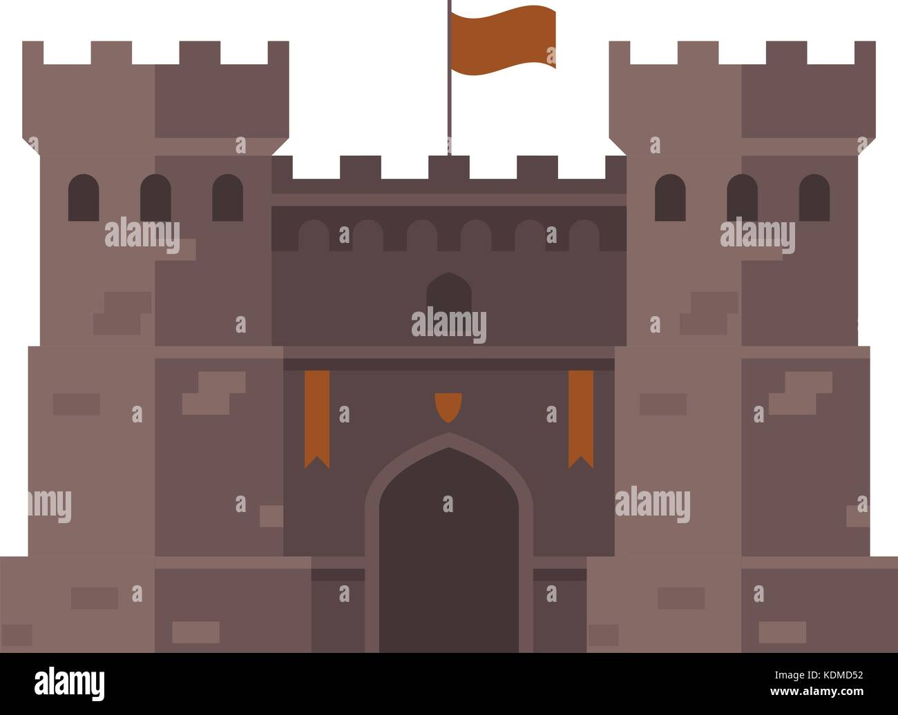 Medieval stronghold - old fortress towers - Stock Vector