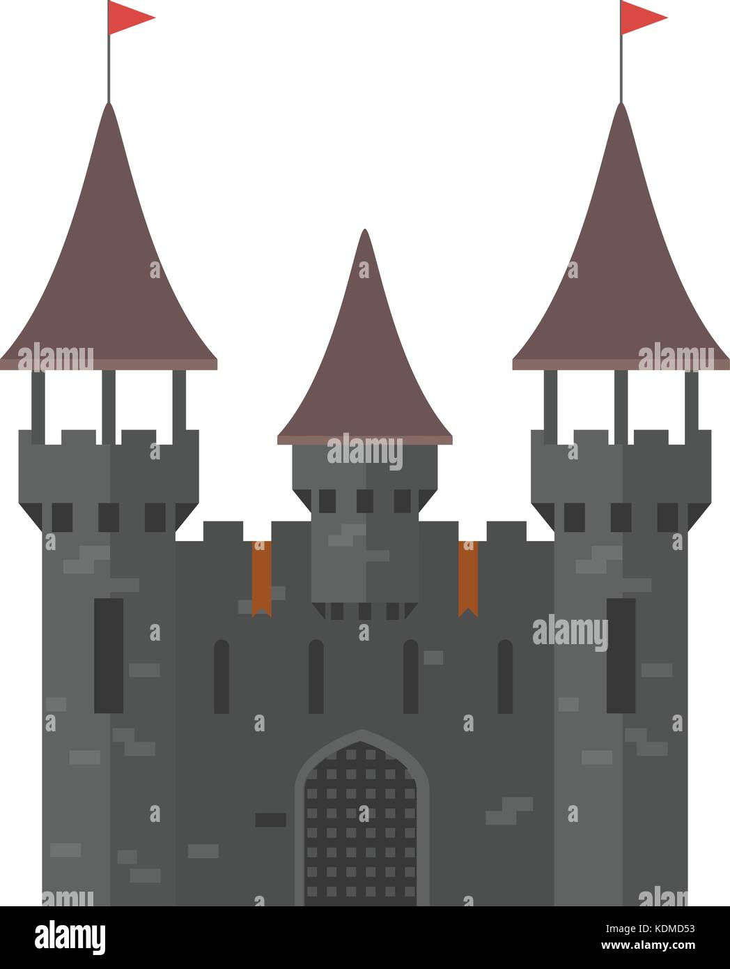 Medieval castle with towers - walled town - Stock Vector