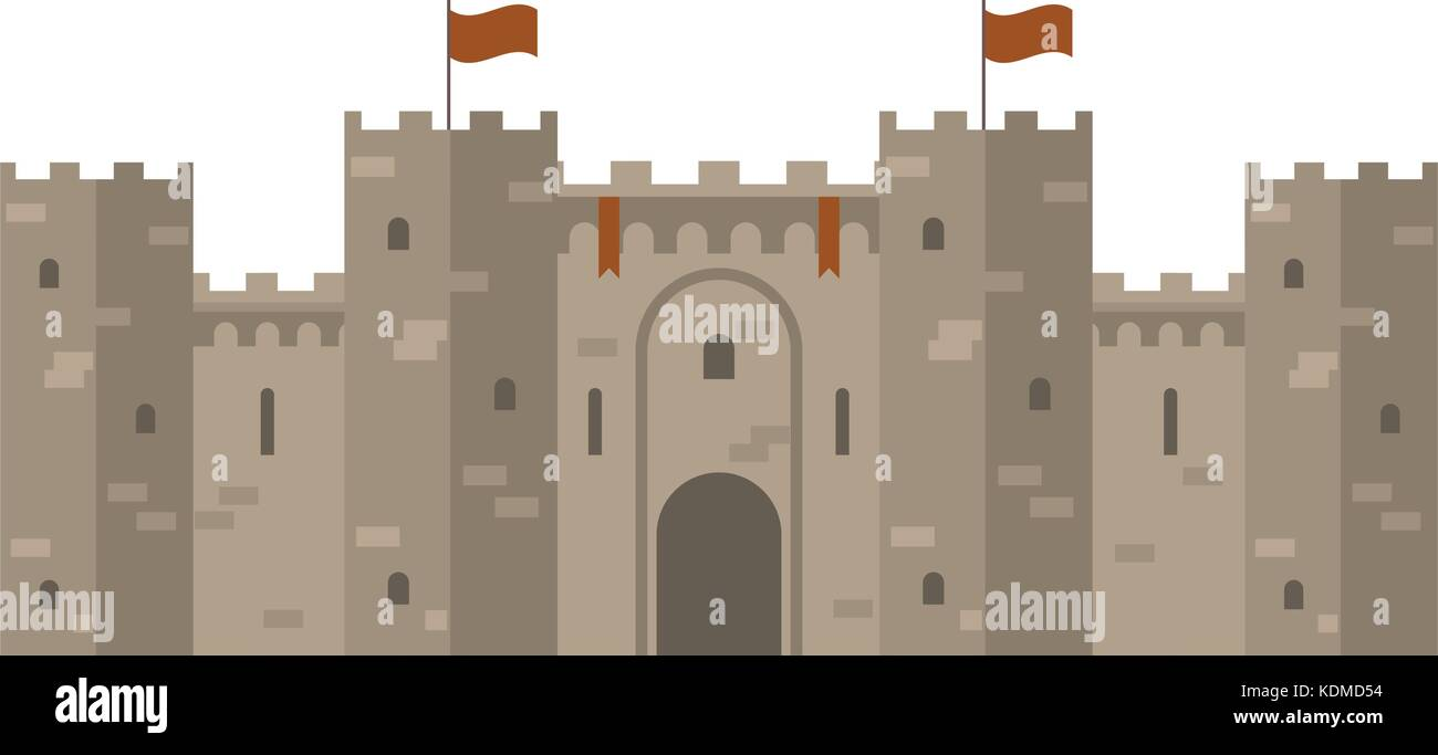 Medieval castle with fortified wall and towers - Stock Vector