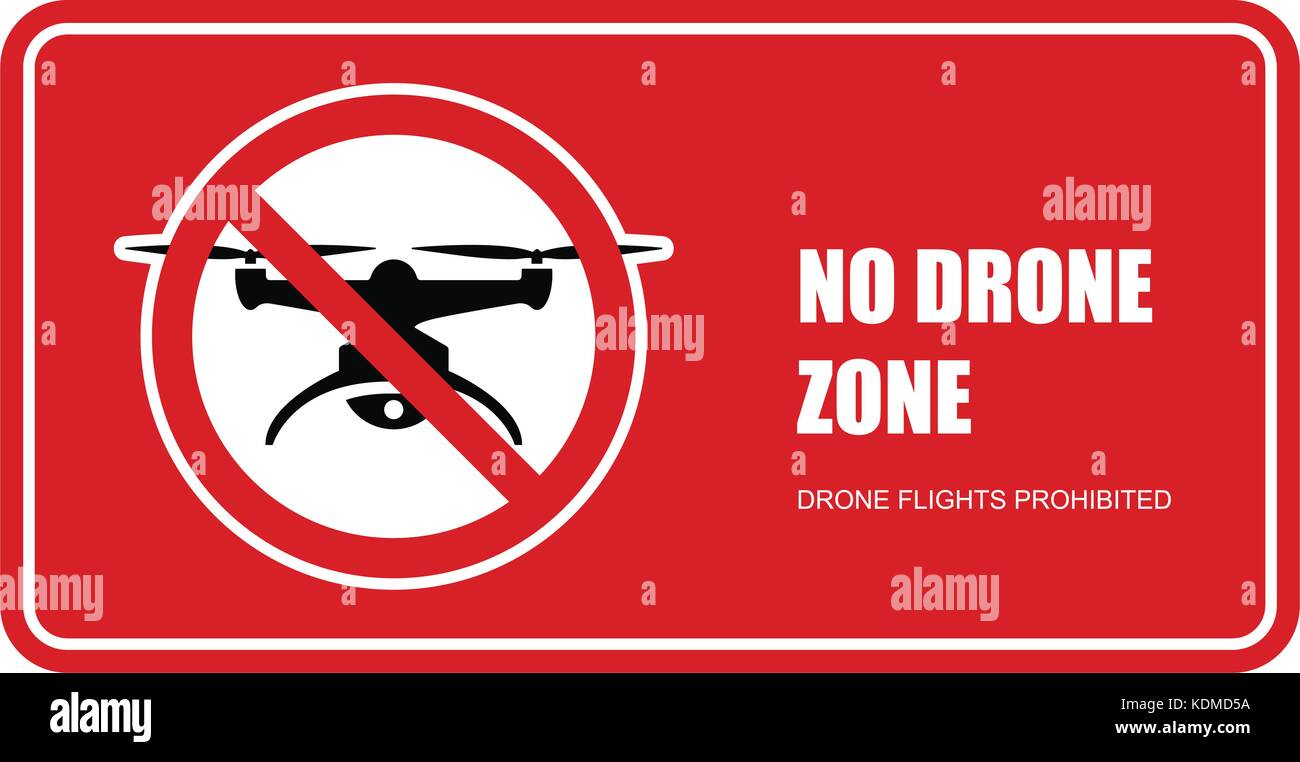 No drone zone sign - quadcopter flights prohibited - Stock Vector