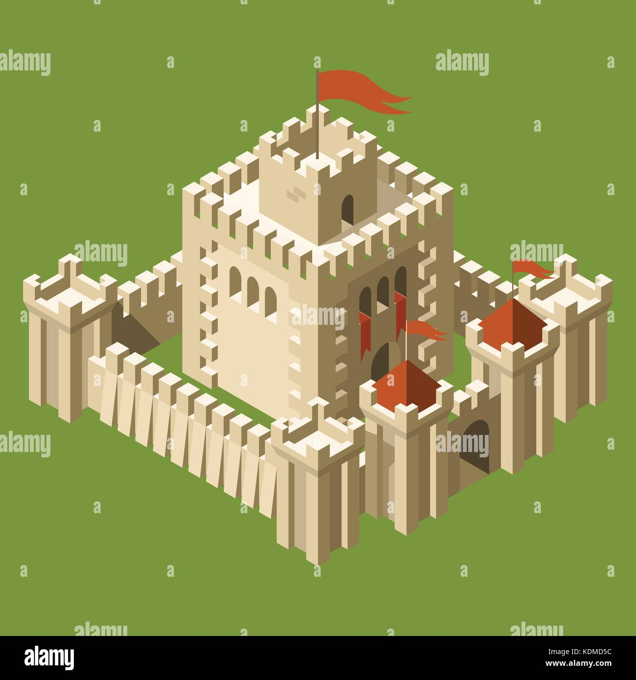 Isometric medieval castle with fortified wall and towers - Stock Vector