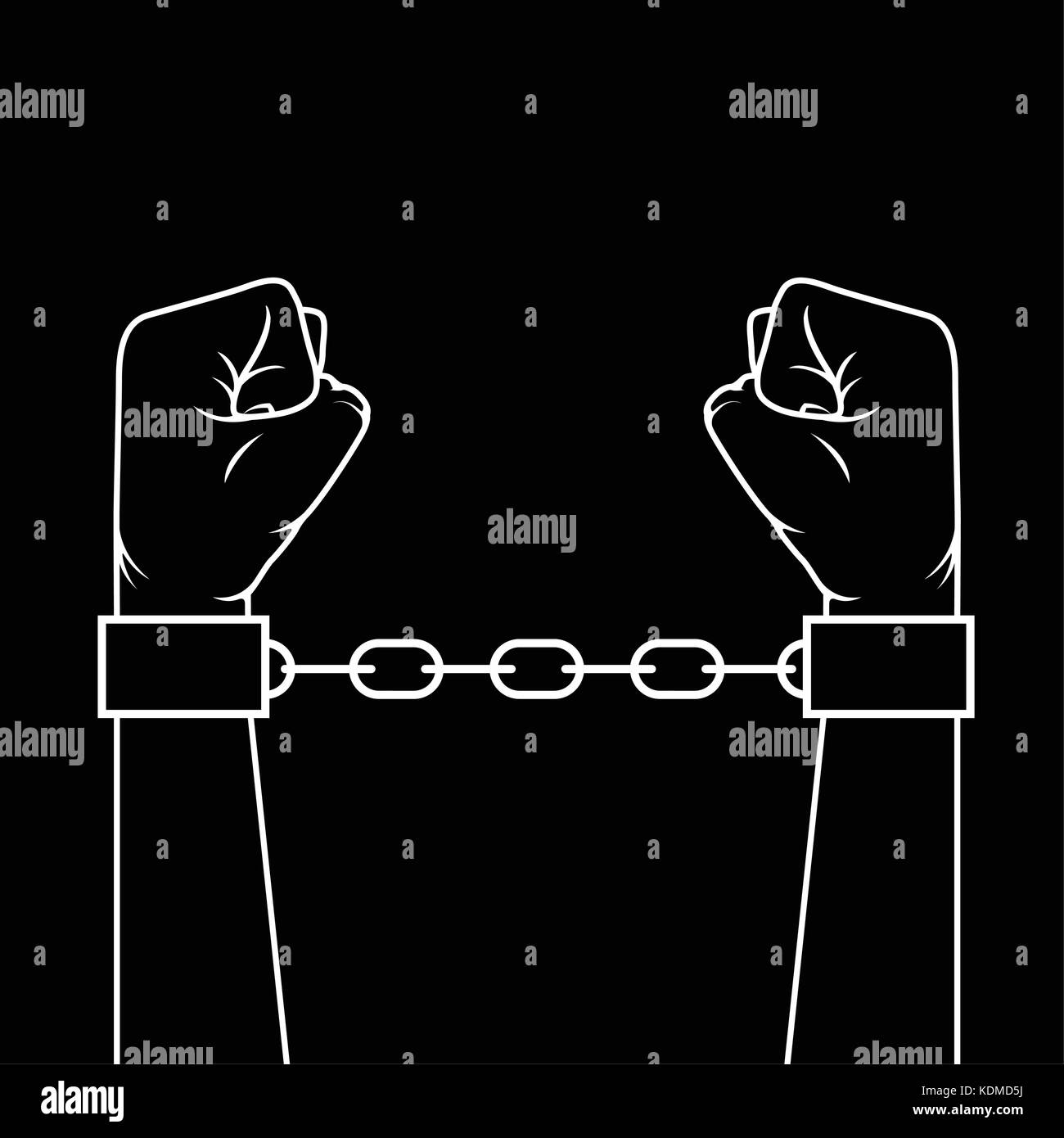 Hands with clenched fists in shackles - slavery concept - Stock Image