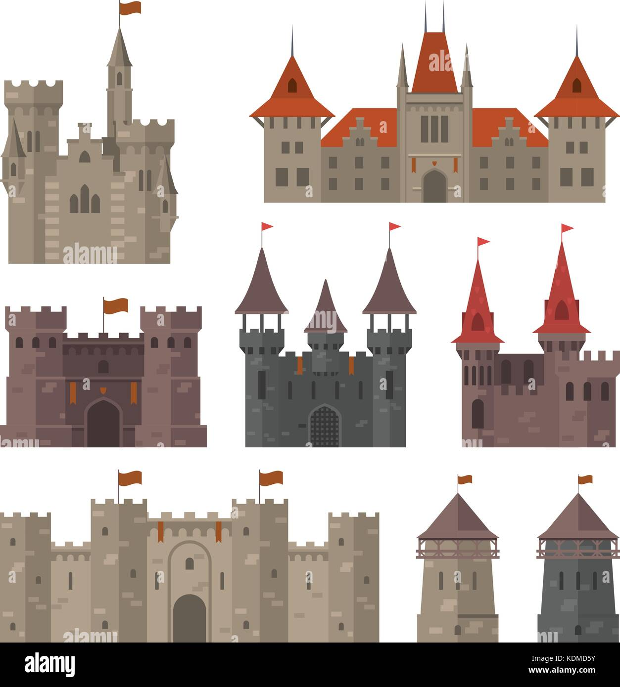 Medieval castles, fortresses and strongholds with fortified wall and towers - Stock Vector