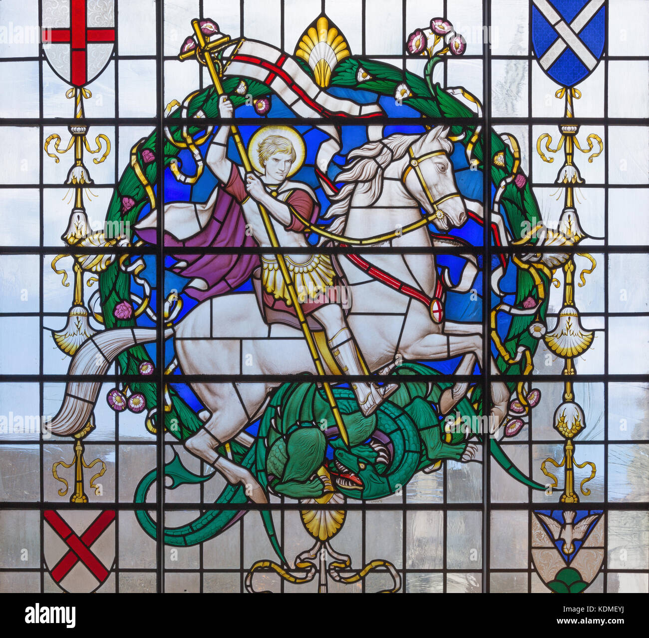 LONDON, GREAT BRITAIN - SEPTEMBER 14, 2017: The saint George on the stained glass in church St. Lawrence Jewry by - Stock Image