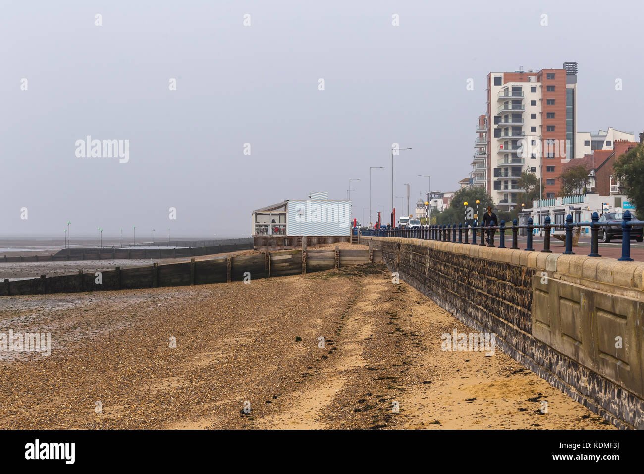 Beach and Esplanade at Westcliff-on-Sea on a Dull Autumn Morning Stock Photo