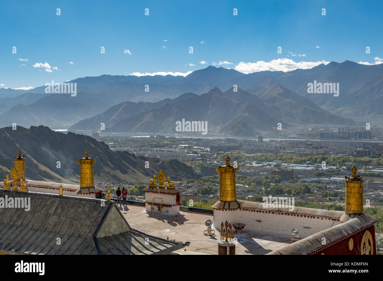 View of Lhasa from Drepung Monastery, Tibet, China - Stock Image