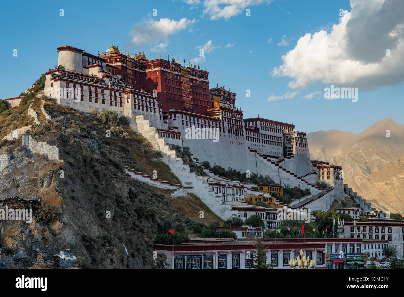 Potala Palace in Evening, Lhasa, Tibet, China - Stock Image